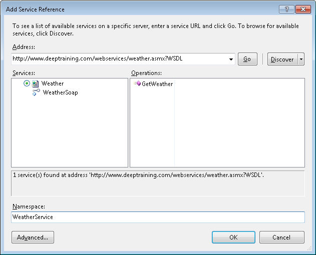 Adding a Web Reference in Visual Studio 2010 – John's Random