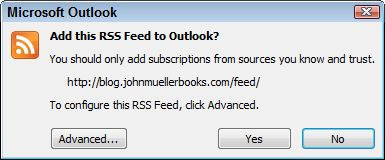 A dialog box showing how an RSS subscription looks in Outlook.