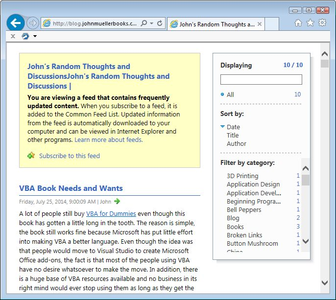 The Internet Explorer window containing the RSS feed for this site.