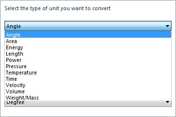 Select a conversion type to determine what options are offered in the From and To fields.