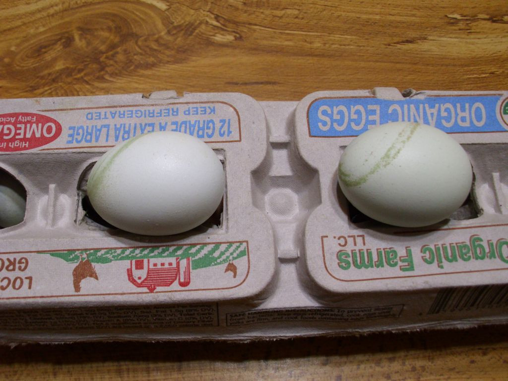 Two blue eggs with a swirled green stripe on them.