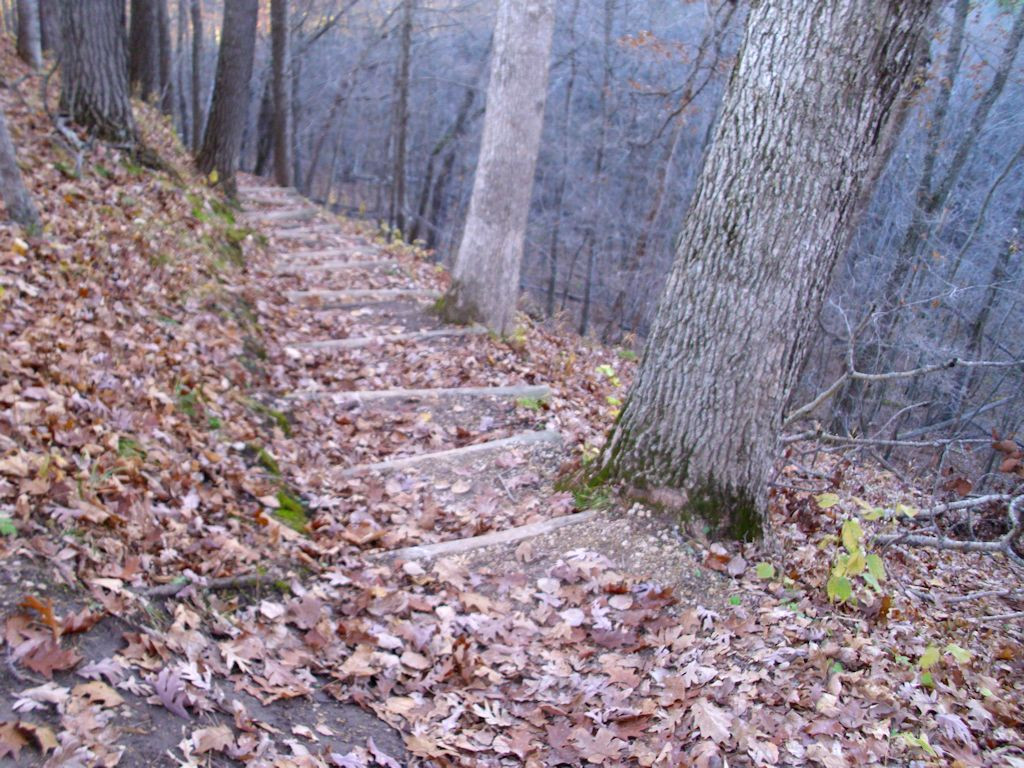 A combination of steep steps and no handholds makes this part of the trail difficult.