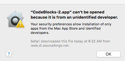 The Gatekeeper error tells you that it won't allow you to install software from unknown publishers.